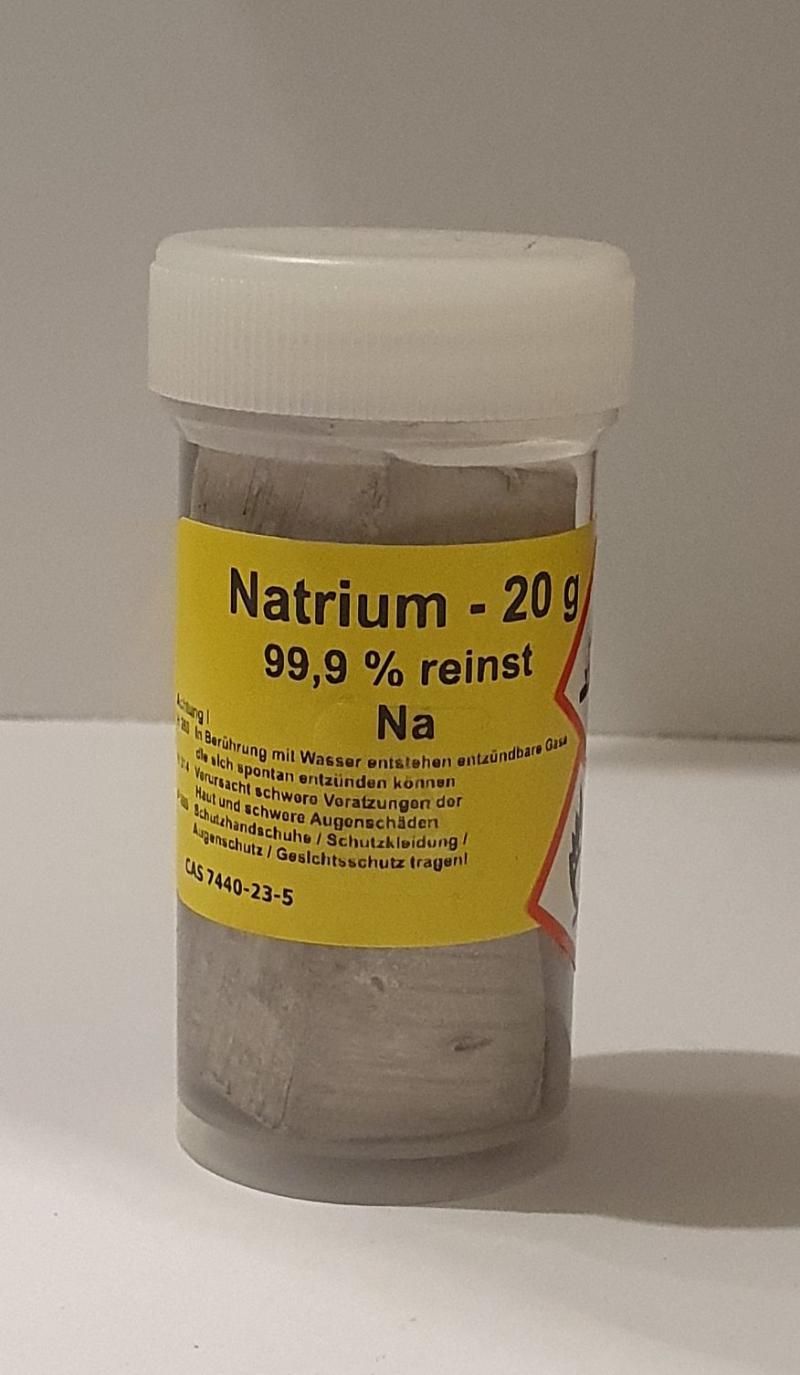 20 g Natrium Alkalimetall >99,9% unter Paraffinoel für Elementarsammlung