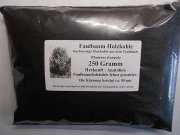 250 g Faulbaum Holzkohle, Holzkohlenstaub, (Körnung 80 µm), reinst