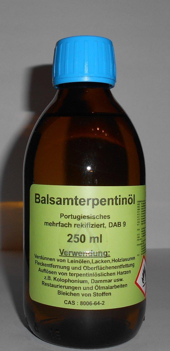 250 ml Portugiesisches Balsam Terpentinöl DAB 9, farblos, mehrfach rektifiziert