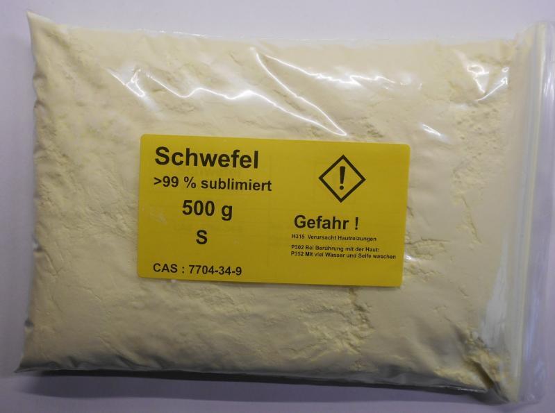 500 g Schwefel, Säurearm, sublimiert reinst >99,9% für Elementarsammlung