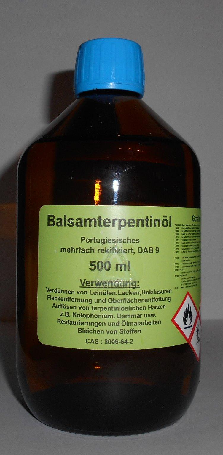 500 ml Portugiesisches Balsam Terpentinöl DAB 9, farblos, mehrfach rektifiziert