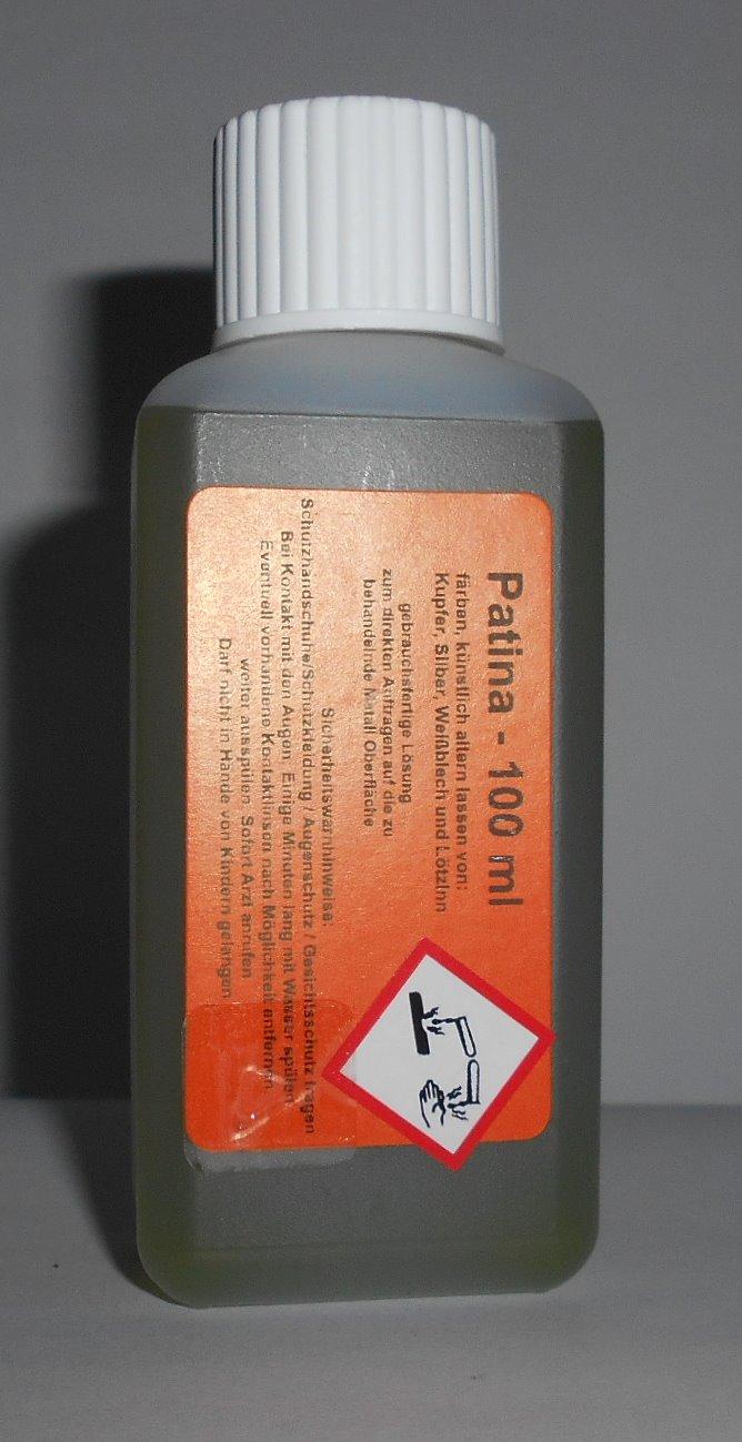 100 ml Tiffany Patina zum schwarz beizen von Kupfer, Silber und Weisblech