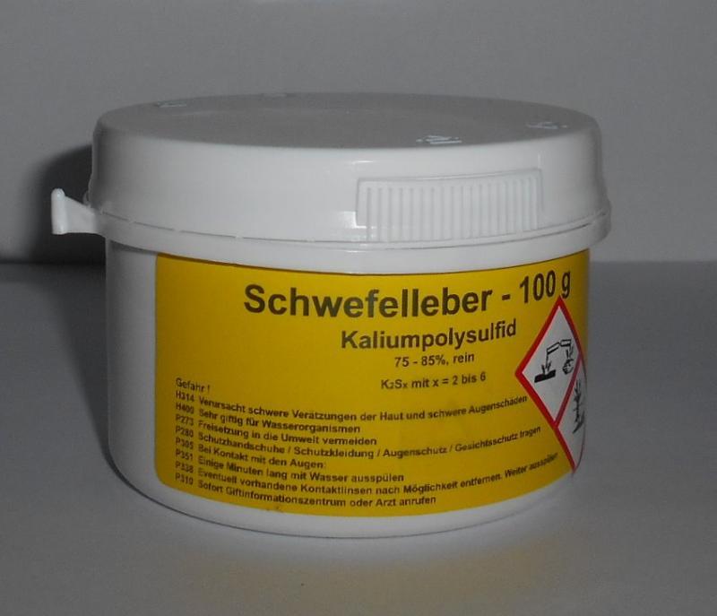 100 g Schwefelleber, Kaliumpolysulfid K2Sx (75-85% rein)