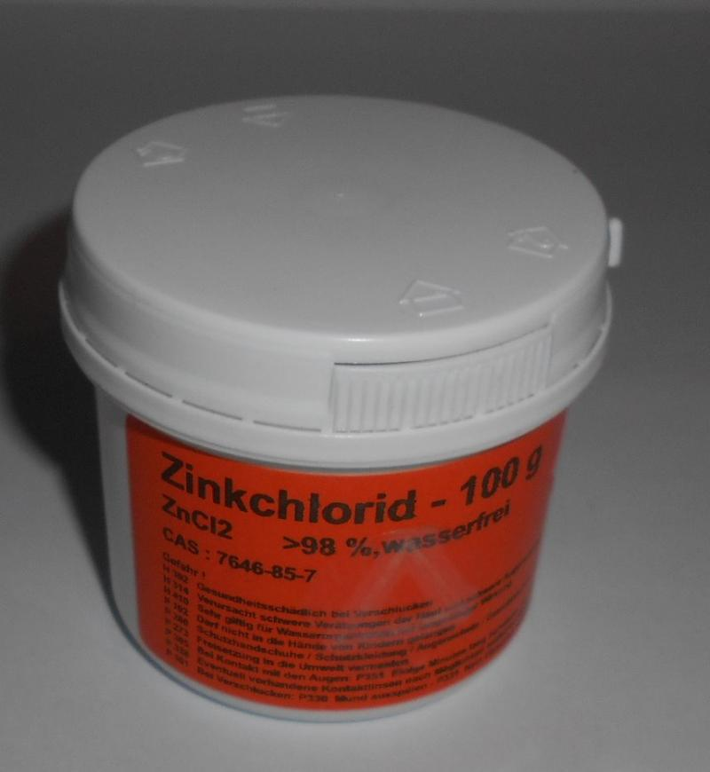 100 g Zinkchlorid, ZnCl2 >98%, reinst, Zink-II-chlorid (Wasserfrei) DAB
