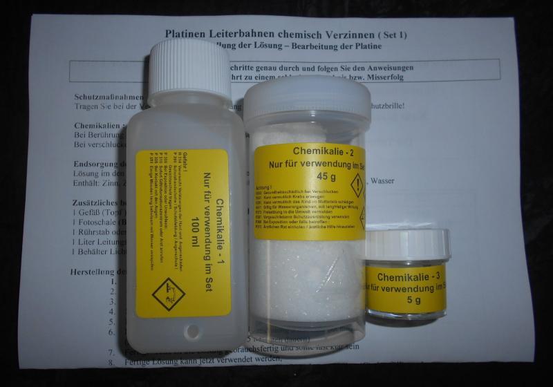 Chemisch verzinnen, Platinen verzinnen für ca.90 Euro Platinen, Chemisch Zinn Set 1